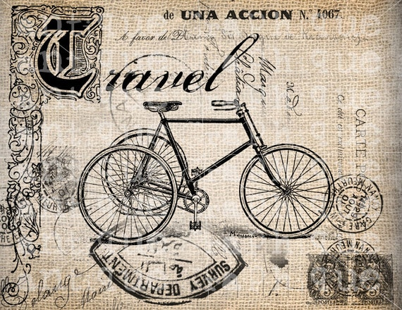 Antique Travel Victorian Bicycle Postmarks Illustration Digital Download for Papercrafts, Transfer, Pillows, etc Burlap No 2409