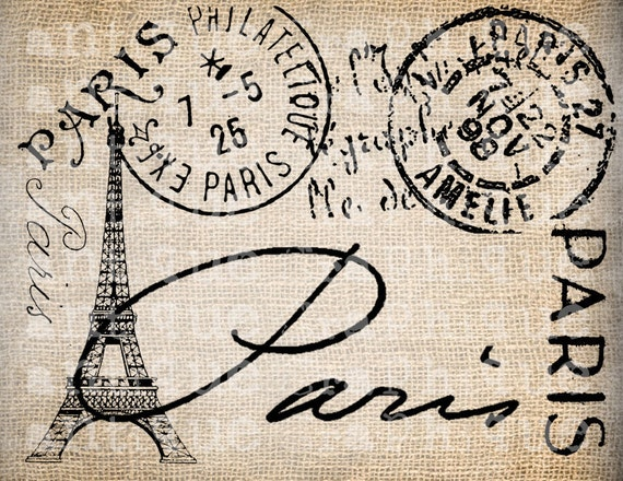 Antique Paris Postmarks Label Script Ornate Illustration Digital Download for Papercrafts, Transfer, Pillows, etc Burlap No 2447