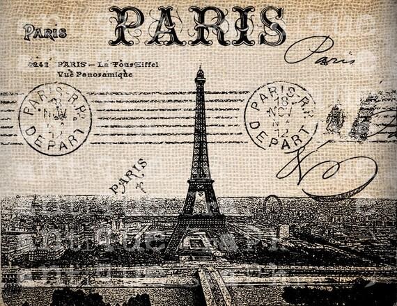Antique Postcard Fancy French Paris Illustration  Digital Download for Papercrafts, Transfer, Pillows, etc No 2665