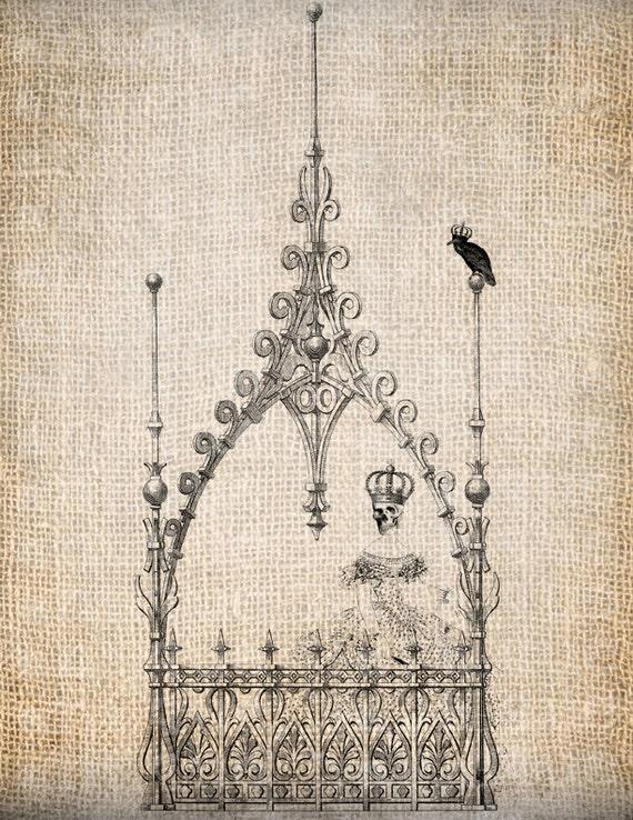 Antique Skeleton Skull Girl Crown Raven Halloween All Hallows Eve Digital Download for Papercrafts, Transfer, Pillows, etc Burlap No 3099