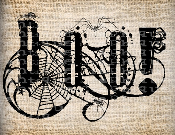 Antique Halloween BOO Word Spiders Web Fancy Script Digital Download for Papercrafts, Transfer, Pillows, etc Burlap No. 3661