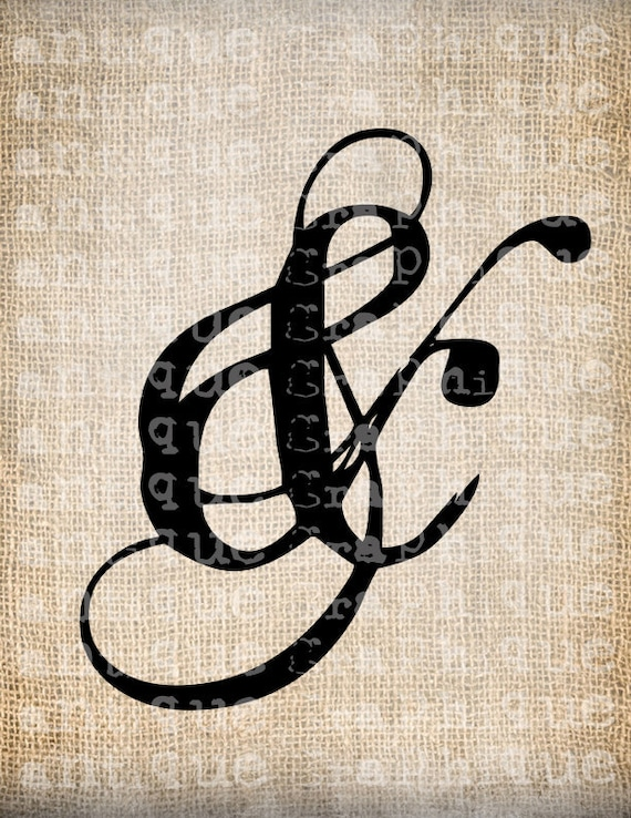 Antique Fancy Ampersand AND Ornate Flourish Script Illustration Digital Downlorcrafts, ad for PapeTransfer, Pillows Burlap No 3883