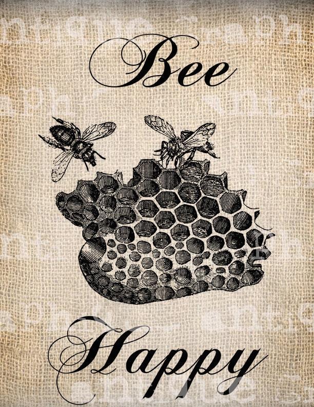 Antique Bee Happy Vintage Bee Hive Digital by AntiqueGraphique
