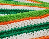 Crochet Scarf - Stripes - Green, White & Orange, St. Patrick's Day