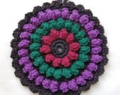 Crochet Hot Pad - Cotton - Black and Jewel Tones