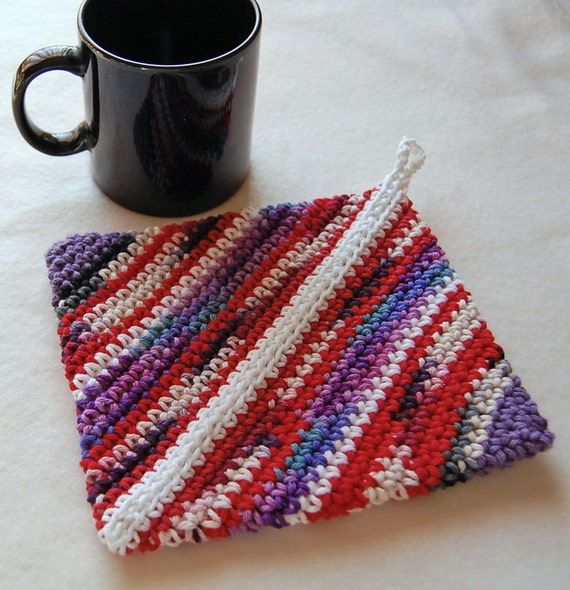 Crochet Hot Pad, Pot Holder - Cotton - Red and Purple Scrappy Stripes