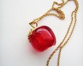 Vintage big Lucite Red Apple pendant necklace signed AVON 1980s