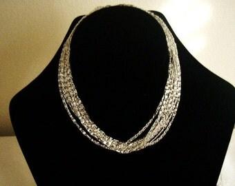 Vintage Sarah Coventry Multi Strand Necklace Silvery Cascade