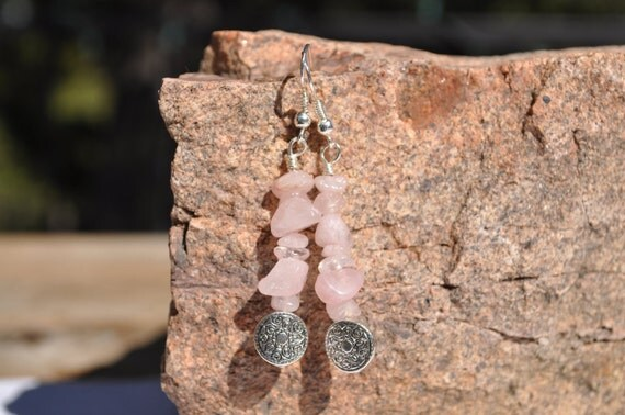CLEARANCE - Earrings - rose quartz and printed metal bead, dangle earrings, beaded earrings