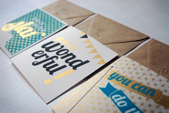 Golden Words - Pack of 3 Hand Screenprinted Cards