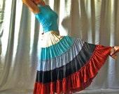 In stock Skirt Tiered Ruffle Chiffon Urban Boho Hippie Gipsy Elegant  Long Skirt  Plus size