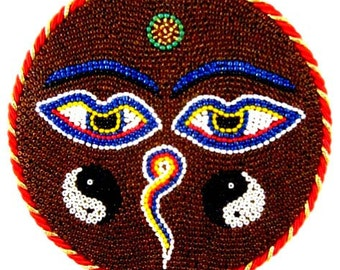 Buddha Eyes Wisdom Eyes Yoga  Meditation Art Wall Hanging Beaded Mosaic