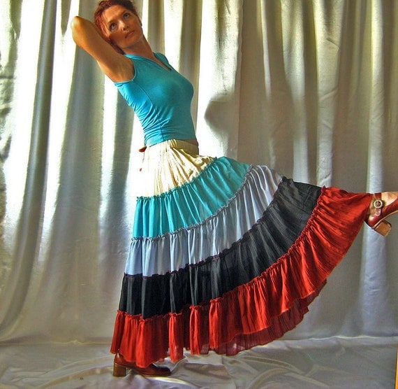 In stock Skirt Tiered Ruffle Chiffon Urban Boho Hippie Gipsy Elegant  Long Skirt  Plus size