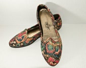 Size 7or7.5, Floral Canvas Slip-on Flats.