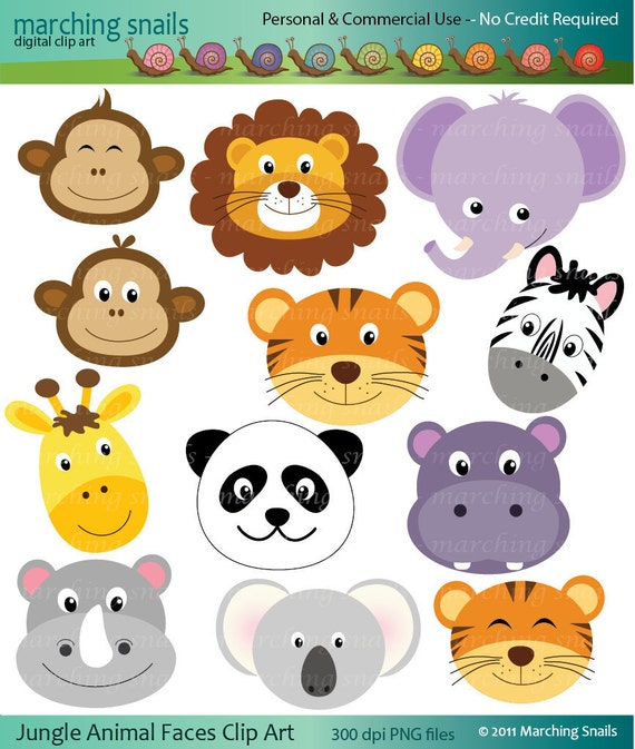 Items Similar To Jungle Animal Faces Digital Clip Arts Commercial