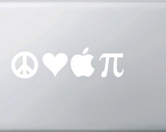 Peace, Love & Apple PI Vinyl Decal for Macbooks and More...