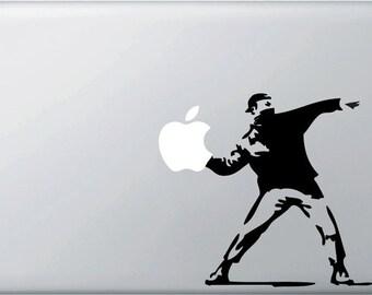 "MB - Banksy Style - Molotov Guy Throwing Apple - Vinyl Macbook Decal (5""w x 6""h)(BLACK)"