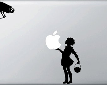 Banksy Style - The Security Camera Girl - Vinyl Decal for Macbooks, Laptops and More...