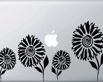 """MB - Sunflowers - Vinyl Decal for Macbooks, Laptops and More... (12""""w x 6.5""""h) (Color Choices)"""