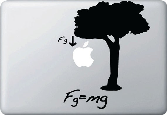 MB - Gravity and The Apple Tree Vinyl Decal for Macbooks, Laptops and More... (BLACK)