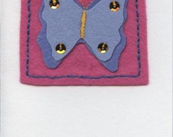 Felt butterfly motif greetings card