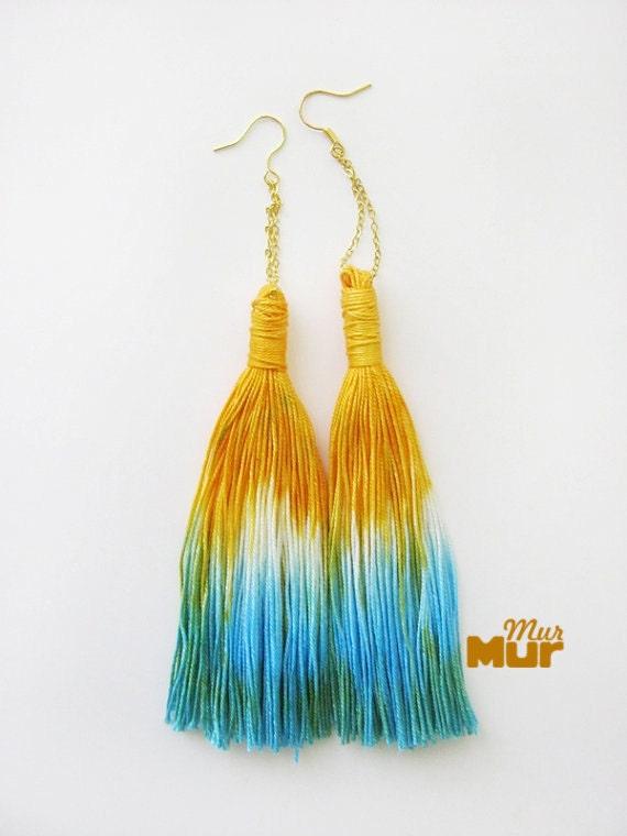 Firefox - Hand dyed tassel earings/murMur