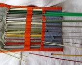 Lot 46 knitting Needles in an Organizer Metal and Plastic
