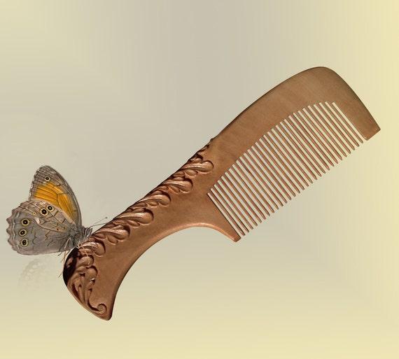 Hair Comb Wood Cypress Wood Carving