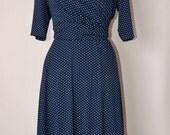 Vintage inspired Dresses Navy Blue & White Polka Dot Mock Wrap Tea Dress 3/4 length sleeves