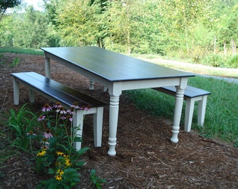Farm Table and Bench, Dining Table, Kitchen Table with Bench