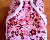 Pink and brown flowered diaper cover