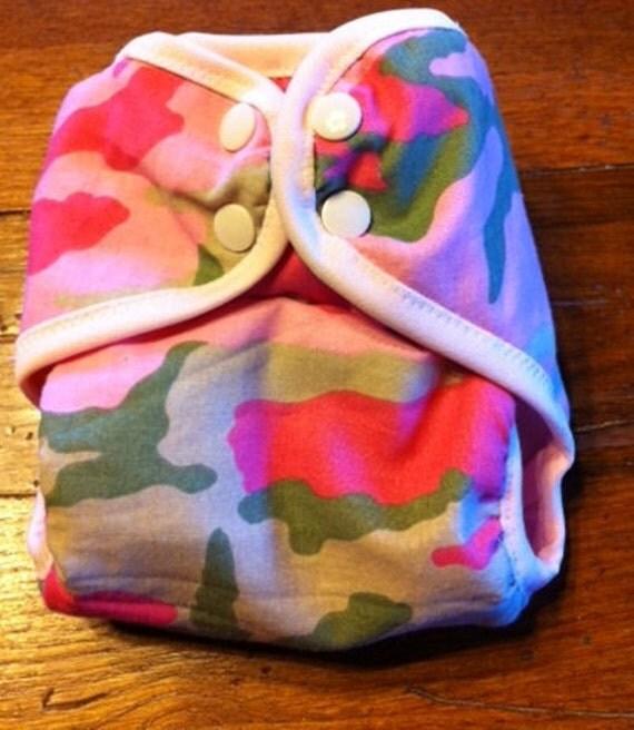 Pink camo diaper cover