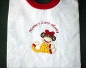 Mommy's Little Monkey Girl Sock Monkey Towel Bib