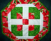 Watermelon Print, Octagon, Quilted, Reversible Table Topper