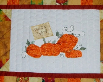 Fall Appliqued Pumpkin Patch Quilted Table Runner