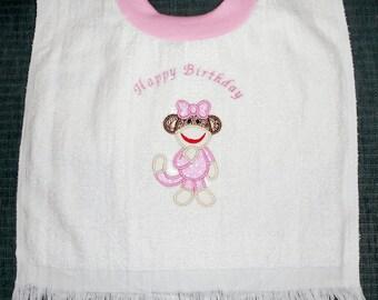 Happy Birthday Girl Sock Monkey Appliqued Towel Bib
