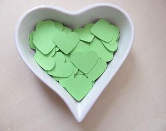 Confetti - 200 CARDBOARD hearts - Heart - Green - Spring - Estate - Baby shower - Flavors - Wedding - Love - Decor - Birthday