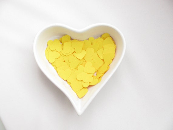 Confetti - 200 CARDBOARD hearts - Yellow - Summer  - Spring - Love - Decor - Birthday - Party - Wedding