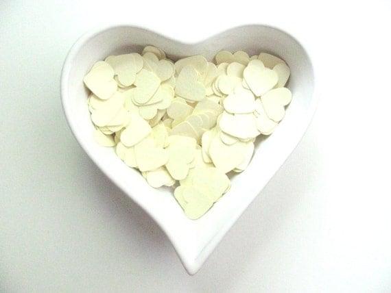 RESERVED - Confetti - 200 paper hearts - Cream - Spring - Love - Decor - Birthday