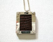 Buffalo Leather, Copper,  Sterling Silver Framed Necklace