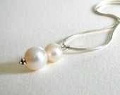 White Two Pearl Sterling Silver Necklace