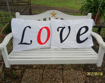 LO VE Hand Painted Pillow Cases - Bedroom Decor - Gift Idea