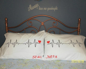 Heart Beats Handprinted on Pillow Cases in Brilliant White - Personalized