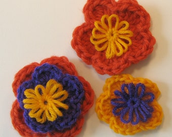 Appliques - Crocheted Flowers - Funky Colors 14 pcs