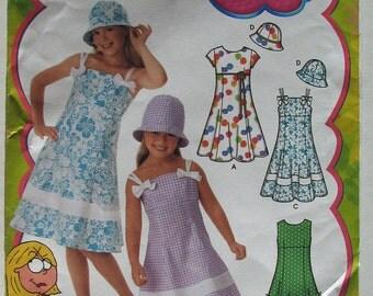 Girl's Dress, Children's Pattern, Simplicity 4721, UNCUT,  Lizzie Mcguire Pattern, Sundress, Hat Pattern, Girls Size 3, Girls Size 6