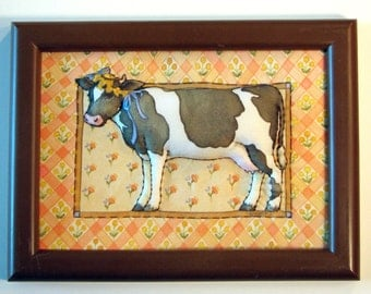 Country Animals Fabric Framed Hangings