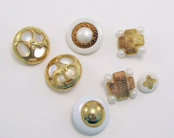 Large Beautiful Buttons Gold White