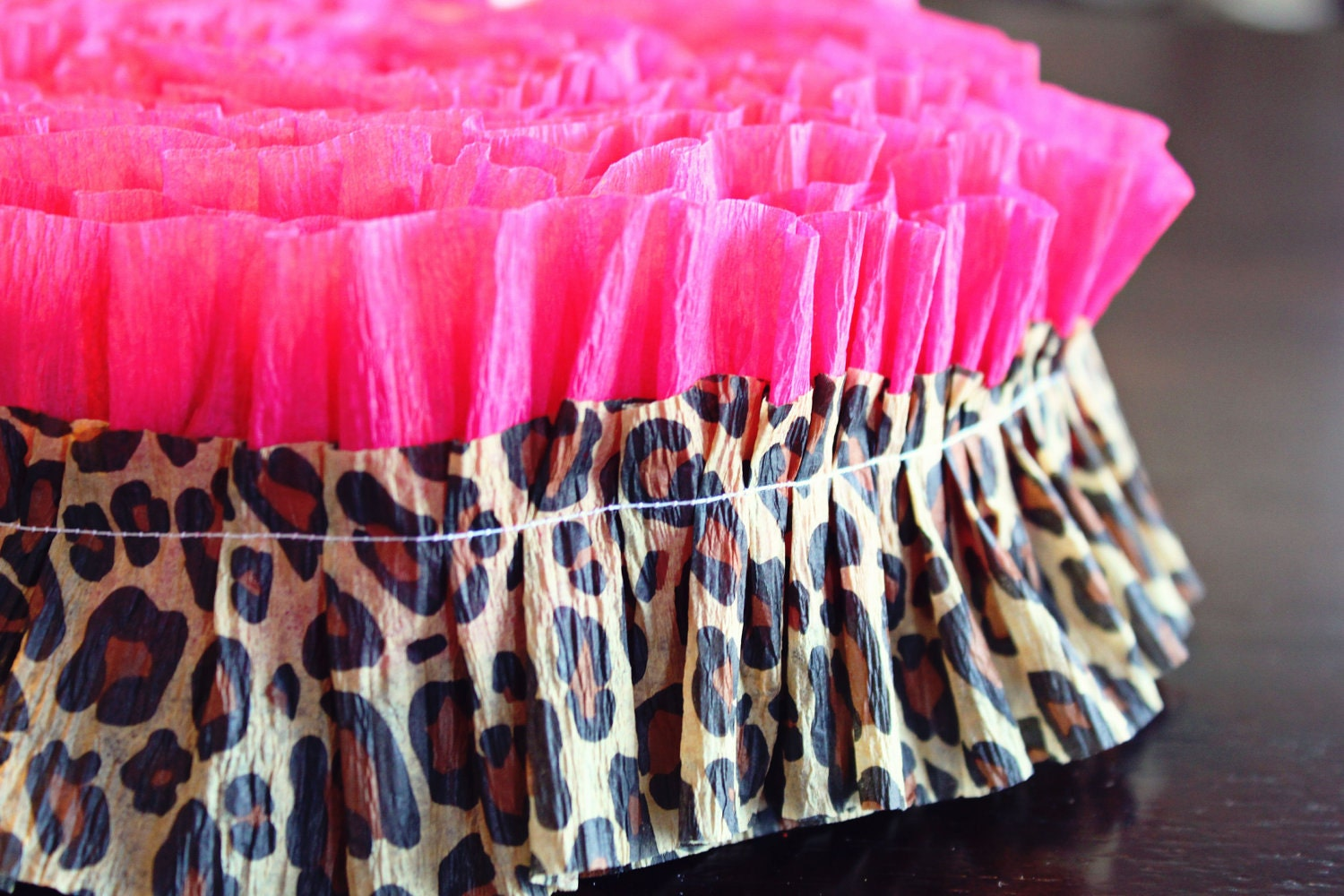 Pink leopard cheetah print ruffle garland ruffled streamer for Animal print decoration party
