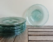 Aqua Blue Mexican Glass Bread or Dessert Plates Hand Blown Set of 11