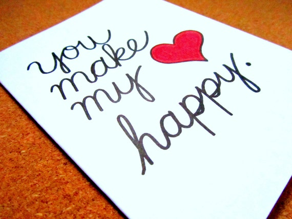 "Love card - ""You make my heart happy."" - Mini print - Blank inside / Express yourself"